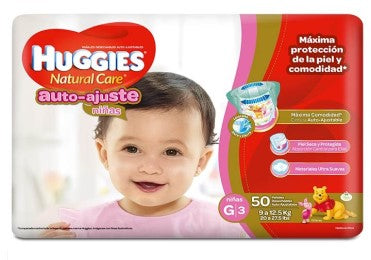 Pañales Huggies Natural Care G - Etapa 3 (Auto-Ajuste)