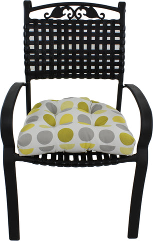 Citron Yellow and Gray Big Dots Indoor / Outdoor Seat Cushion Patio D Cushion
