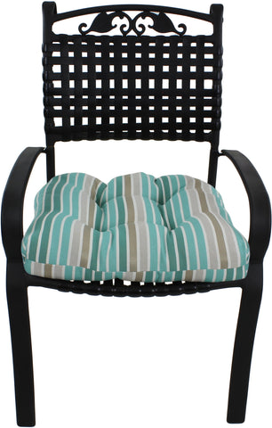 Lakeside Teal Parker Stripe Indoor / Outdoor Seat Cushion Patio D Cushion