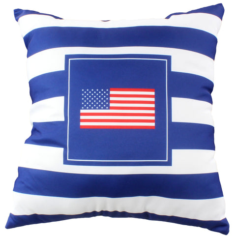 "Blue American Flag Decorative Pillow, 16"" x 16"", Made in the USA"
