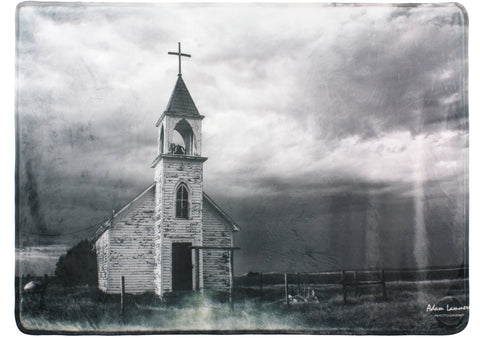 Abandoned Church Black and White Landscape Throw Blanket