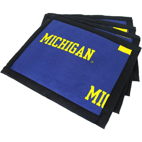 Michigan Wolverines Placemat Set, Set of 4 Cotton and Reusable Placemats
