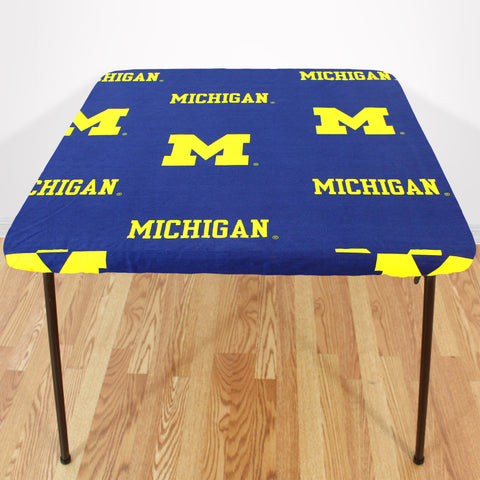 Michigan Wolverines Fitted Table Cover / Tablecloth:  3 Sizes Available