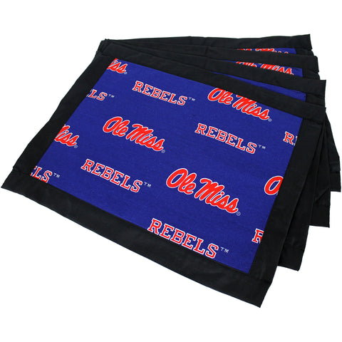 Ole Miss Rebels Placemat Set, Set of 4 Cotton and Reusable Placemats