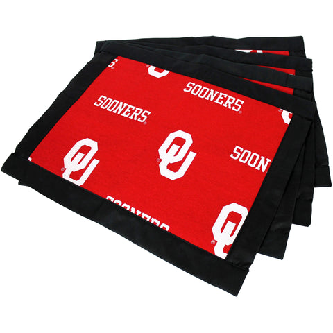 Oklahoma Sooners Placemat Set, Set of 4 Cotton and Reusable Placemats