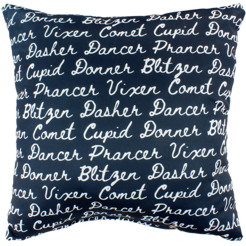 Reindeer Names Reversible Pillow - More Colors Available