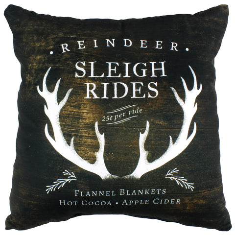 Reindeer Sleigh Rides Reversible Pillow