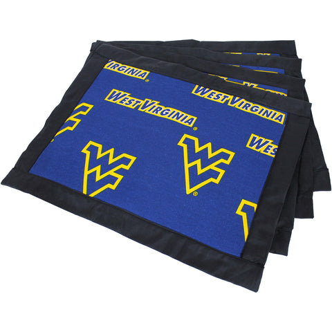 West Virginia Mountaineers Placemat Set, Set of 4 Cotton and Reusable Placemats