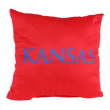 "Kansas Jayhawks 2 Sided Decorative Pillow, 16"" x 16"", Made in the USA"