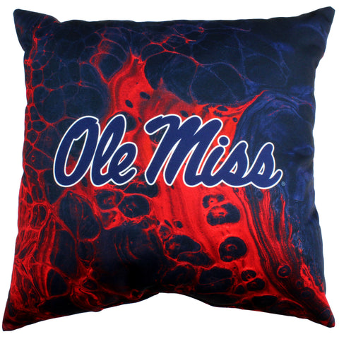"Ole Miss Rebels 2 Sided Decorative Pillow, 16"" x 16"", Made in the USA"