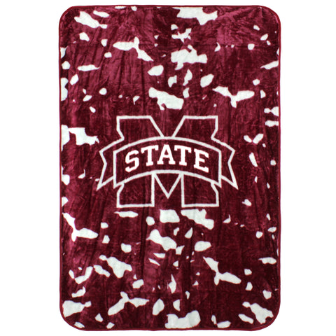 Mississippi State Bulldogs Raschel Throw Blanket