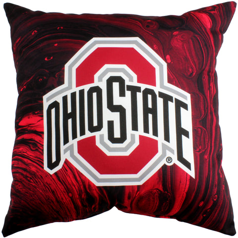 "Ohio State Buckeyes 2 Sided Decorative Pillow, 16"" x 16"", Made in the USA"