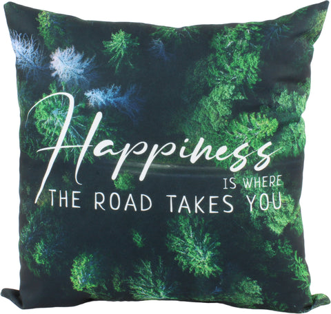 "Happiness Decorative Pillow, 16"" x 16"", Made in the USA"