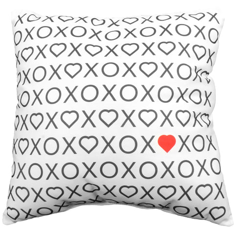 Xs Hearts and Os Reversible Pillow