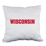 "Wisconsin Badgers 2 Sided Decorative Pillow, 16"" x 16"", Made in the USA"