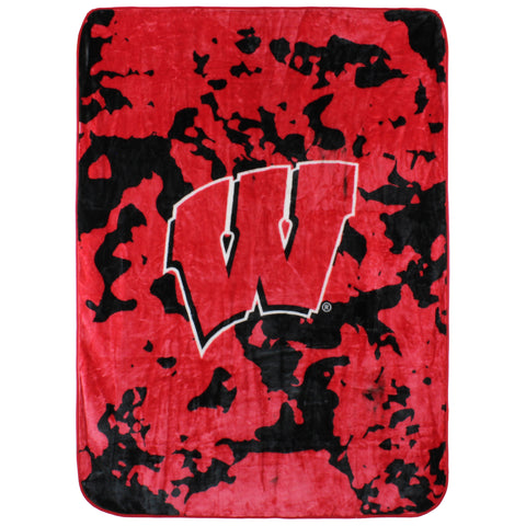 Wisconsin Badgers Raschel Throw Blanket