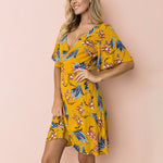 Malaga - Mustard V-Neck Short Wrap Dress
