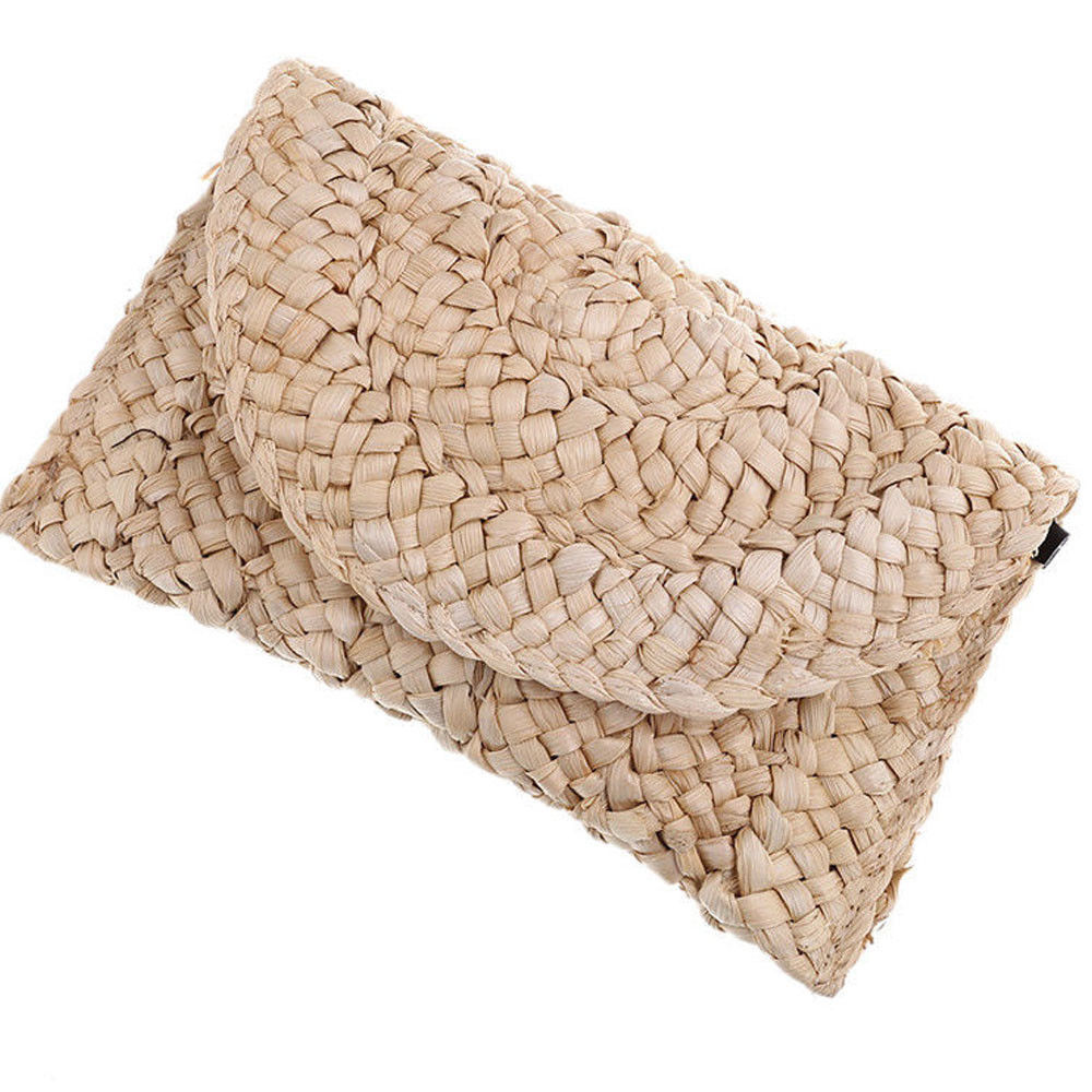 Tangalooma - Simple Woven Straw Clutch Bag