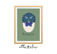 Indie baby Triceratops - peacock print - BOLD - Otto and Oliv