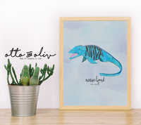 Milo Mosasaurus - tiger fish print - watercolour collage - Otto and Oliv