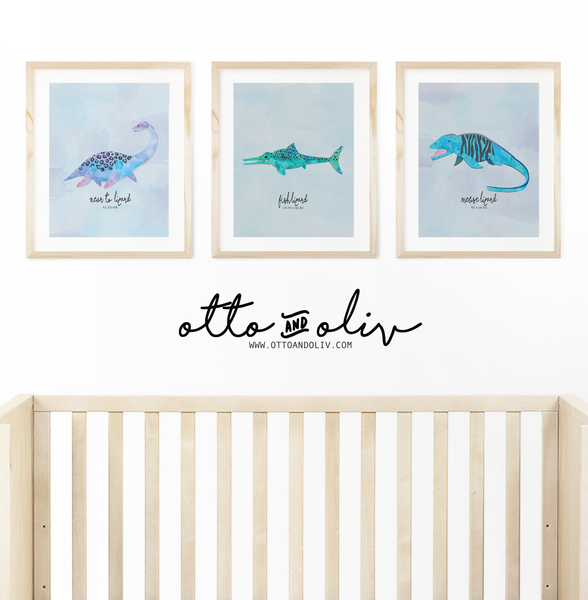 Under the Sea - three prehistoric creatures - animal print - Otto and Oliv