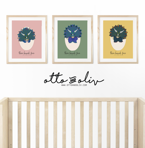 Triceratops Triplets - collection of 3 prints - Otto and Oliv
