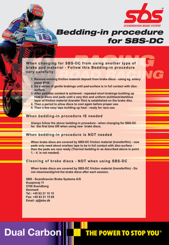 Sbs DC dual carbon bedding in information