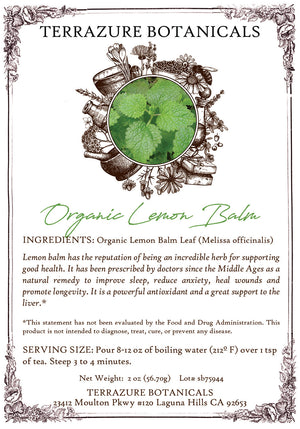 LEMON BALM Organic Bulk Herbal Tea