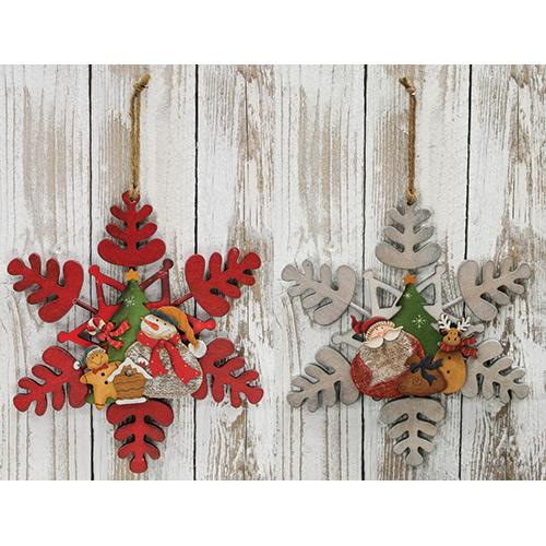 Wooden Decorated Snowflakes