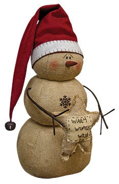 Tall Winter Wishes Snowman - Thompsons Vintage Treasures