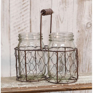 Chicken Wire Basket & Mason Jars, Home Decor Accents, Thompsons Vintage Treasures Thompsons Vintage Treasures