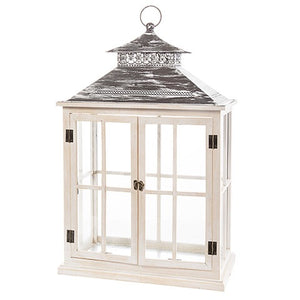 Whitewash Windowpane Lantern