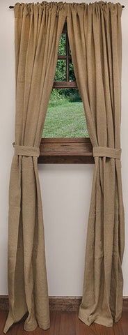 Burlap Curtain Panels, Set of 2, Window Treatments, Thompsons Vintage Treasures Thompsons Vintage Treasures