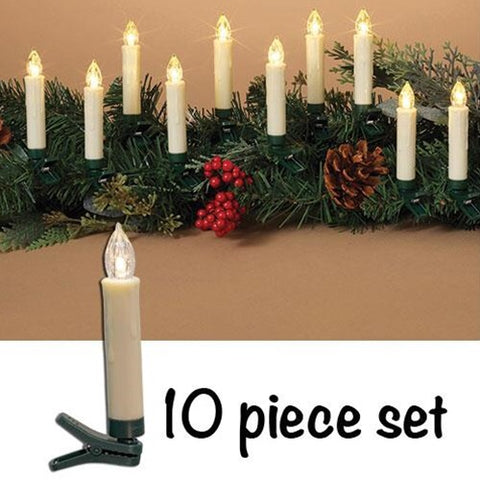 Clip On Candles With Remote, Set/10