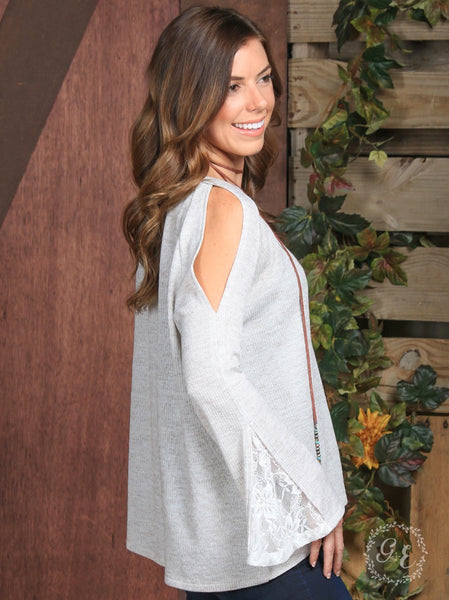 Light Gray Bell Sleeve Tunic - Thompsons Vintage Treasures