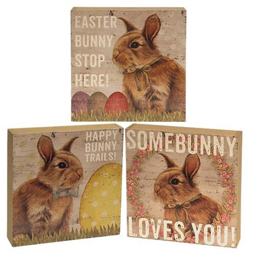 Easter Bunny Signs, Set Of 3, Holiday Decor, Thompsons Vintage Treasures Thompsons Vintage Treasures