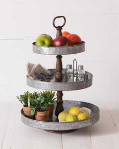 Galvanized Metal Three Tiered Trays