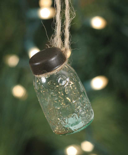 Glass Mini Mason Jar Hanging Christmas Ornament, Set Of 6 - Thompsons Vintage Treasures
