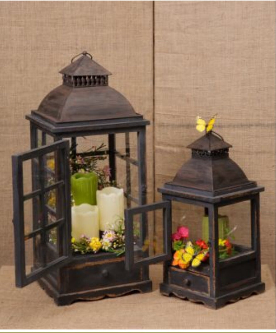 Black Lanterns With Accessory Drawers, Set Of 2 - Thompsons Vintage Treasures