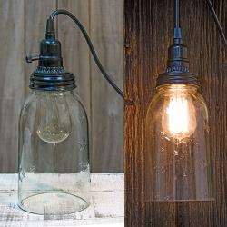 "Mason Jar Hanging Lamp, 8"" - Thompsons Vintage Treasures"