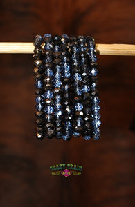 Night Crawler Navy Beaded Bracelet - Thompsons Vintage Treasures