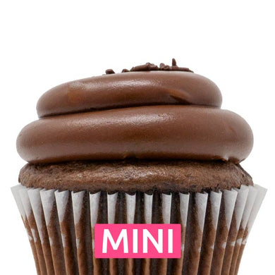 Chocolate with Chocolate Fudge Mini Cupcakes - Dozen