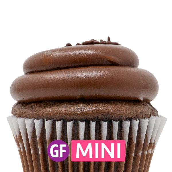 Gluten-Free - Chocolate with Chocolate Fudge Mini Cupcakes - Dozen