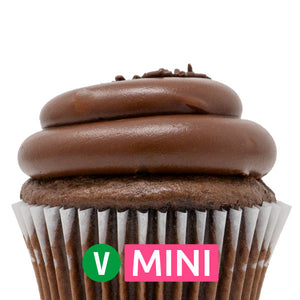 Vegan Chocolate with Chocolate Fudge Mini Cupcakes - Dozen