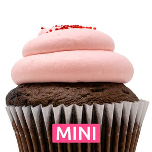 Chocolate with Strawberry Mousse Mini Cupcakes - Dozen