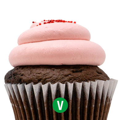 Vegan Chocolate with Strawberry Mousse Cupcake