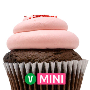 Vegan Chocolate with Strawberry Mousse Mini Cupcakes - Dozen