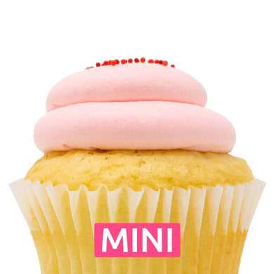 White with Strawberry Mousse Mini Cupcakes - Dozen