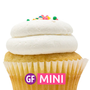 Gluten-Free - White with Vanilla Mousse Mini Cupcakes - Dozen