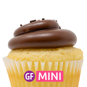 Gluten-Free - White with Chocolate Fudge Mini Cupcakes - Dozen